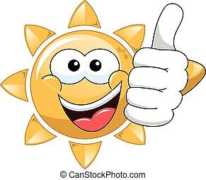 sol, tommelfinger oppe, cartoon