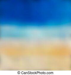 sol, vektor, baggrund., hav, slør