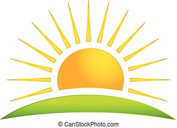sol, vektor, grønnes høj, logo, ikon