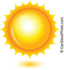 sol, vektor, skinnende, illustration
