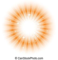 sol, vektor, stråler, isoleret