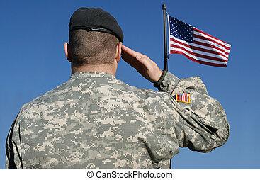 soldat, flag, salutes
