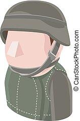 soldat, folk, avatar, ikon