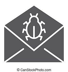 solid, tegn, mønster, virus, email, baggrund., anfalde, vektor, post, grafik, ikon, hvid, glyph, meddelelse, garanti