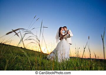 solnedgang, bryllup