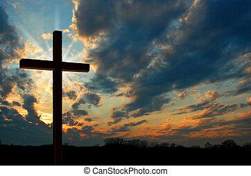 solnedgang, kors