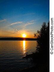 solnedgang, sø, landskab