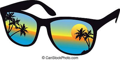 solnedgang, sunglasses, hav