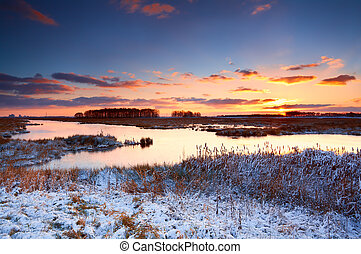 solopgang, hen, flod, vinter, farverig