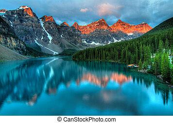 solopgang, moræne, landskab, farverig, sø