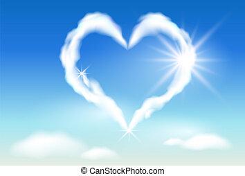 solskin, sky, hjerte