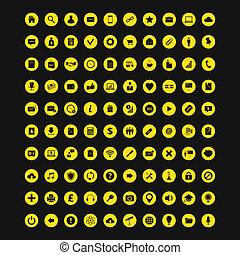 som gælder de fleste, sæt, 100, farverig, iconerne