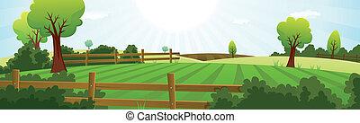 sommer, avlsbrug, landbrug, landskab