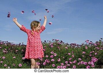 sommer, blomster, glade, barn