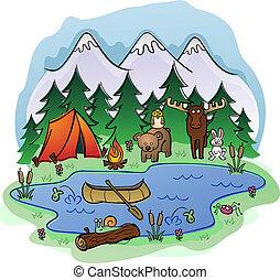 sommer, dyr, camping, frien