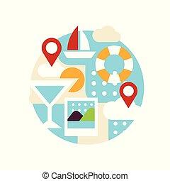 sommer, eller, emblem, tegn, ferie, illustration, ferier, vektor, konstruktion, baggrund, hvid, element, emblem, rejse, logo