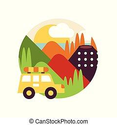 sommer, emblem, bjerg, tegn, automobilen, rejse, illustration, element, vektor, konstruktion, baggrund, logo, hvid, emblem, eller, landskab, cirkel