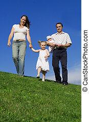 sommer, familie, sunde, gå, udendørs, glade