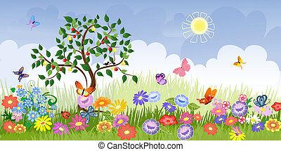 sommer frugt, landskab, træer