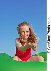 sommer, glade, spille, ferie, barn