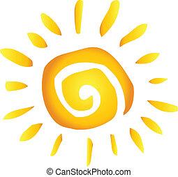 sommer, hede, abstrakt, sol