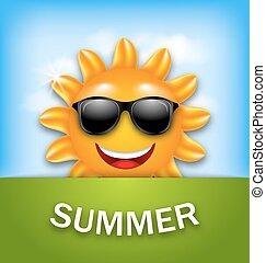 sommer, køle, sunglasses, glade, sol