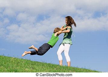 sommer, mor, udendørs, ungt barn, spille