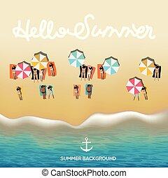 sommer, paraplyer, illustration., plakat, strand, klar, vektor, håndklæder, bølger, hallo