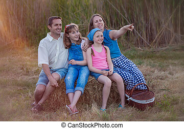 sommer, skovtur, familie, sunde, udendørs, glade
