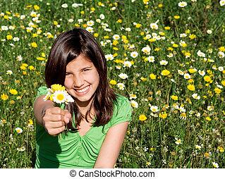 sommer, smil, holde blomstrer, barn, glade