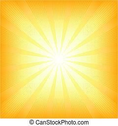 sommer, sol, firkantet, lys brast