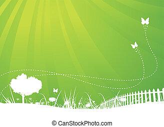 sommer, sommerfugle, have, baggrund, forår