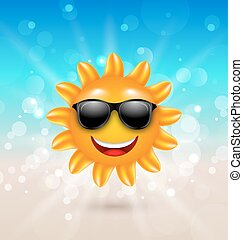 sommer, sunglasses, sol, abstrakt, muntre, baggrund, hallo