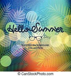 sommer, tekstning, typografi, lys, slør, bokeh, vektor, solnedgang, illustration, hallo