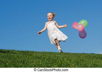 sommer, udendørs, løb, barn, balloner, glade