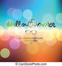 sommer, udvisket baggrund, summertime tid, hallo