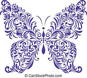 sommerfugl, abstrakt, blomstrede