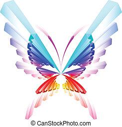 sommerfugl, abstrakt, farverig