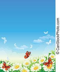 sommerfugl, blomster