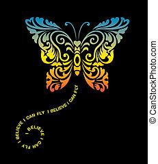 sommerfugl, dekoration, ornamentere