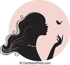 sommerfugl, kvinde, skønhed