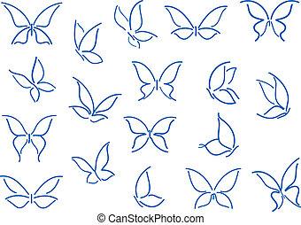 sommerfugl, silhuetter, sæt