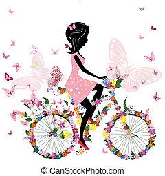 sommerfugle, cykel, stemningsfuld, pige