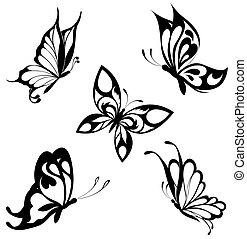 sommerfugle, sæt, sort, hvid, ta