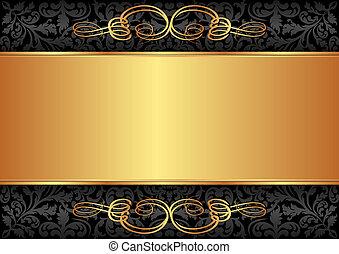 sort, guld, baggrund