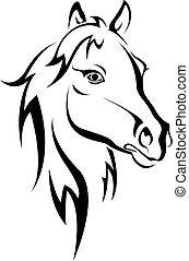 sort hest, silhuet
