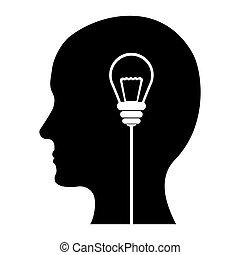 sort, image, konstruktion, ideer, tanker