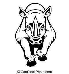 sort, isoleret, baggrund, cartoon, næsehorn, hvid