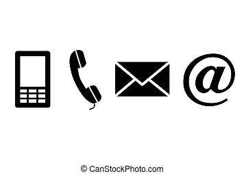 sort, kontakt, icons.