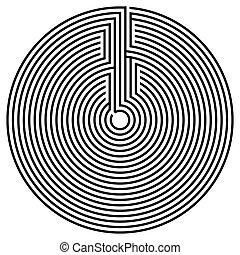 sort, omkring, labyrint
